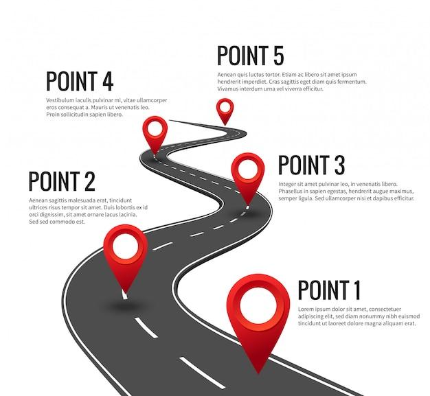 Plansza Drogowa. Zakrzywiona Oś Czasu Z Punktem Kontrolnym Z Czerwonymi Szpilkami. Autostrada Podróż Strategią Z Kamieniem Milowym Koncepcji Premium Wektorów