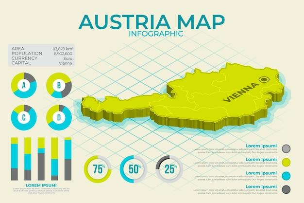 Plansza Izometryczna Mapa Austrii Darmowych Wektorów