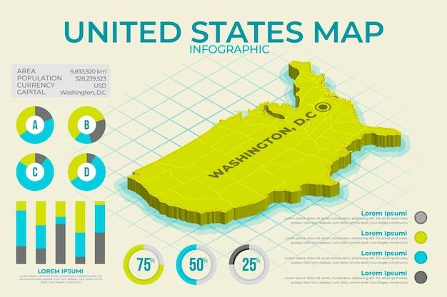 Plansza Izometryczny Mapa Ameryki Darmowych Wektorów