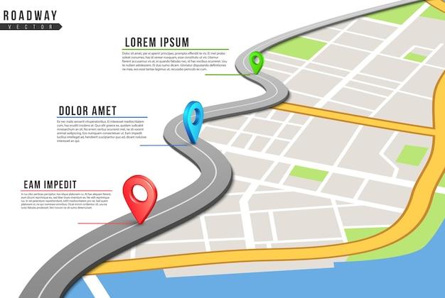 Plansza Jezdni. Mapa Lokalizacji, Przypięte Punkty Autostrad Z Informacjami. Mapa Miasta I Lokalizacje Nawigacji Gps. Premium Wektorów