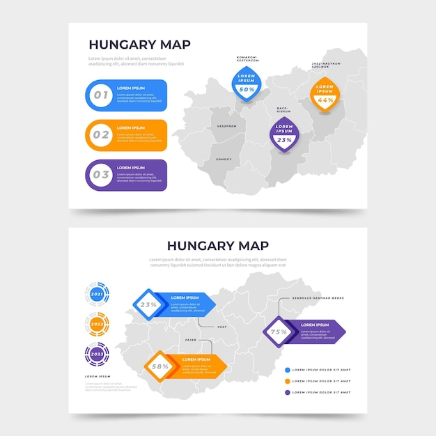 Plansza Mapa Węgier Płaska Konstrukcja Darmowych Wektorów