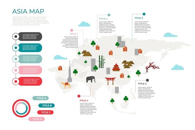 Plansza Mapy Azji W Płaskiej Konstrukcji Premium Wektorów