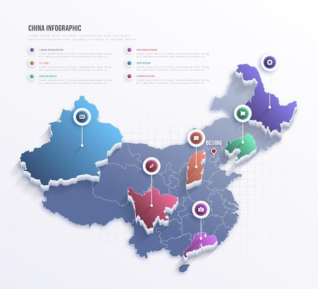 Plansza Mapy Chin Premium Wektorów