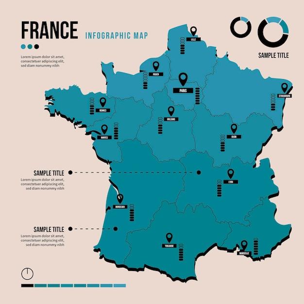 Plansza Mapy Francji W Płaskiej Konstrukcji Darmowych Wektorów