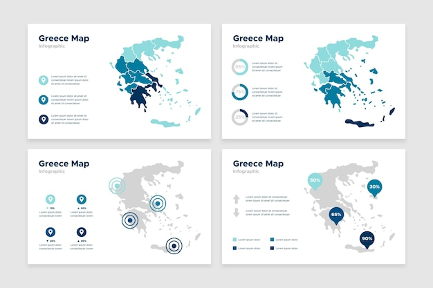 Plansza Mapy Grecji W Płaskiej Konstrukcji Darmowych Wektorów