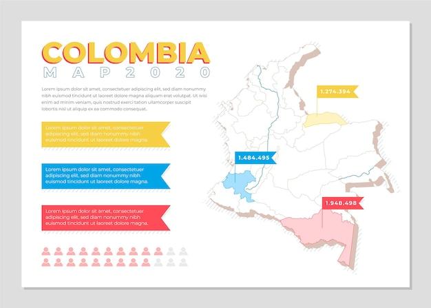 Plansza Mapy Kolumbii W Płaskiej Konstrukcji Premium Wektorów