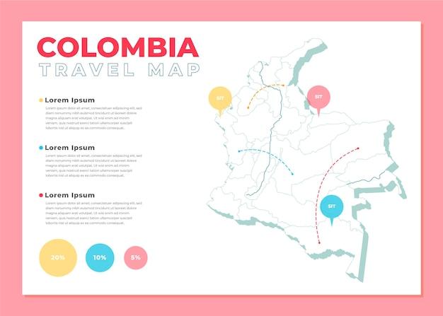 Plansza Mapy Kolumbii W Płaskiej Konstrukcji Darmowych Wektorów