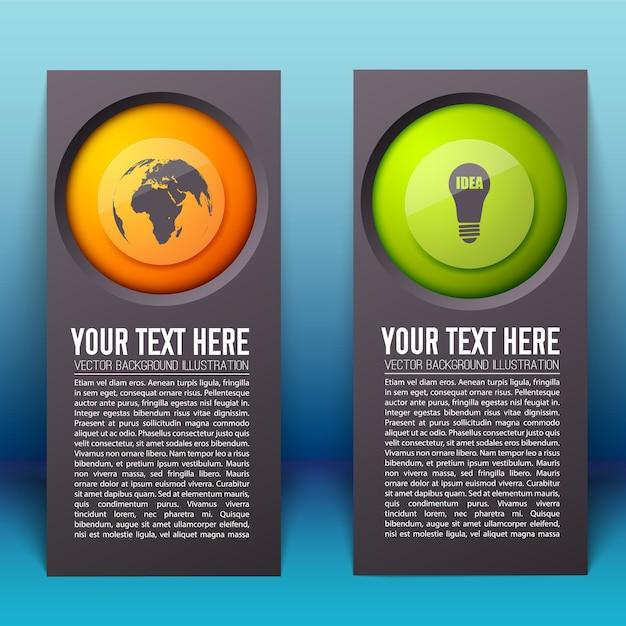 Plansza Pionowe Banery Z Tekstem I Kolorowe Okrągłe Przyciski Z Ikonami Biznesu Na Białym Tle Darmowych Wektorów