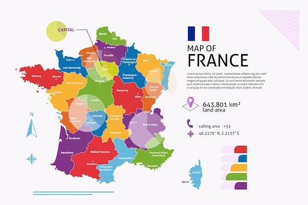 Plansza Płaska Mapa Francji Darmowych Wektorów