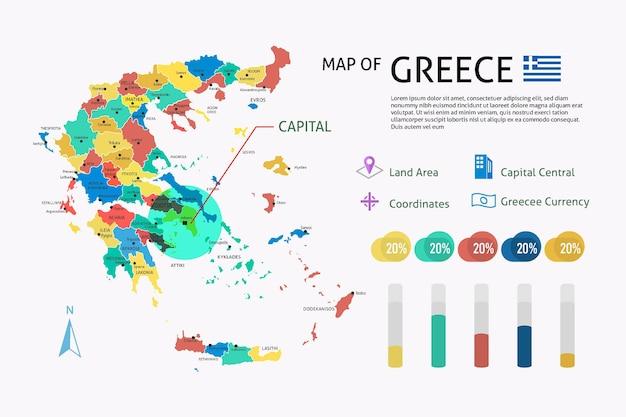 Plansza Płaska Mapa Grecji Darmowych Wektorów