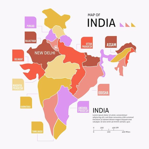 Plansza Płaska Mapa Indii Darmowych Wektorów