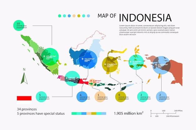 Plansza Płaska Mapa Indonezji Premium Wektorów