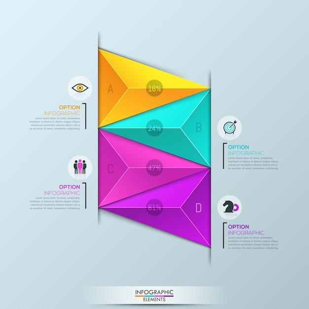 Plansza szablon, schemat z 4 wielokolorowymi trójkątnymi elementami Premium Wektorów
