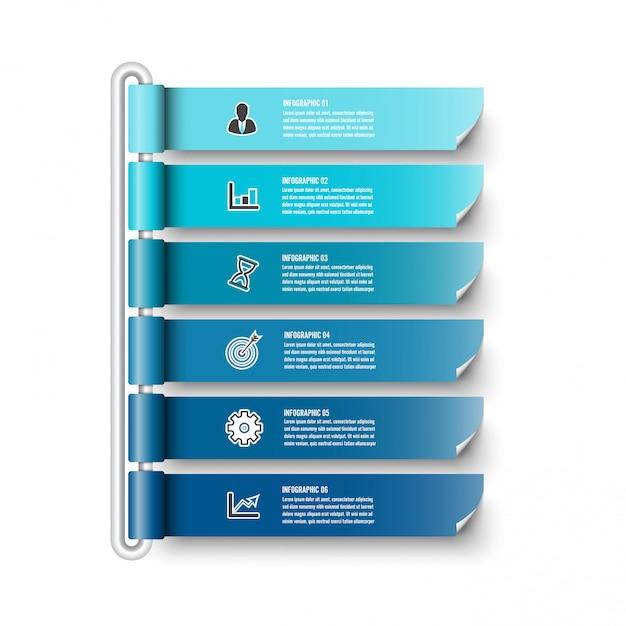 Plansza Szablon Z Banerem 3d Papieru, Zintegrowane Koła. Koncepcja Biznesowa Z 6 Opcjami. Dla Treści, Diagramu, Schematu Blokowego, Kroków, Części, Infografiki Osi Czasu, Przepływu Pracy, Wykresu. Premium Wektorów