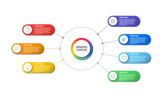 Plansza Szablon Z Siedmioma Okrągłymi Elementami Premium Wektorów