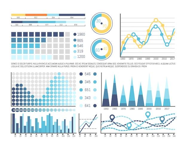 Plansza z informacjami o osi czasu i liczbach Premium Wektorów