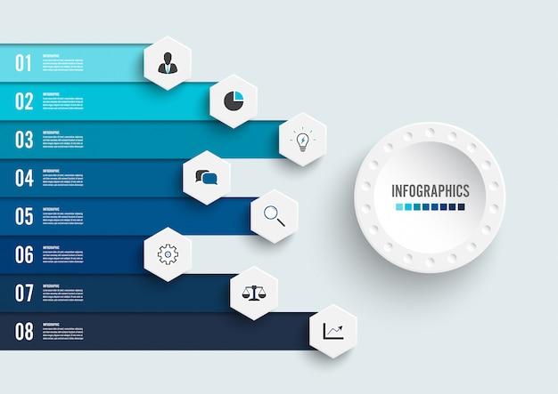 Plansza z ośmioma krokami i ikonami marketingu Premium Wektorów