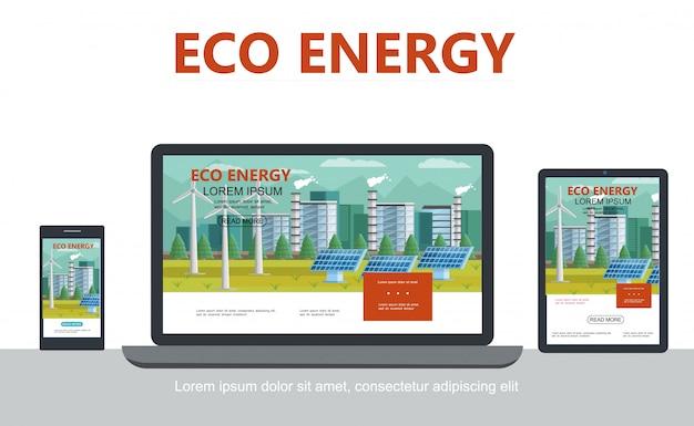 Płaska Alternatywna Koncepcja Ekoenergii Z Wiatrakami Ekologicznymi Fabrycznymi Panelami Słonecznymi Przystosowującymi Się Do Konstrukcji Laptopa Na Tablecie Na Białym Tle Darmowych Wektorów