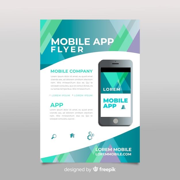 Płaska Aplikacja Mobilna Plakat Darmowych Wektorów