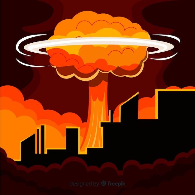Płaska Bomba Atomowa W Mieście Darmowych Wektorów