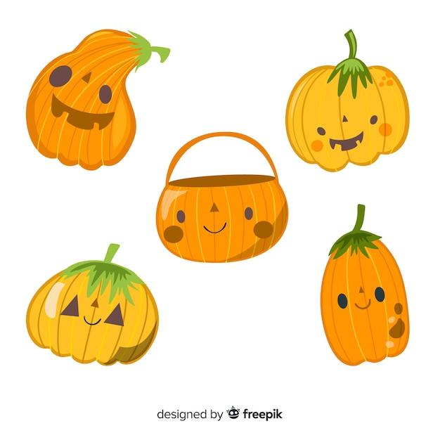 Płaska Dziecinna Kolekcja Dyni Halloween Wektor Darmowe