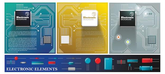 Płaska Elektroniczna Kolorowa Kompozycja Z Diodami Obwodów Elektrycznych, Tranzystorami, Kondensatorami I Rezystorami Darmowych Wektorów