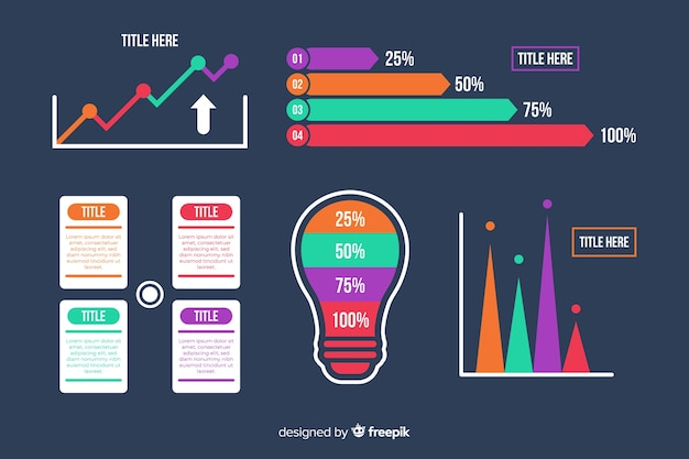 Płaska gradientowa kolekcja elementów infographic Darmowych Wektorów