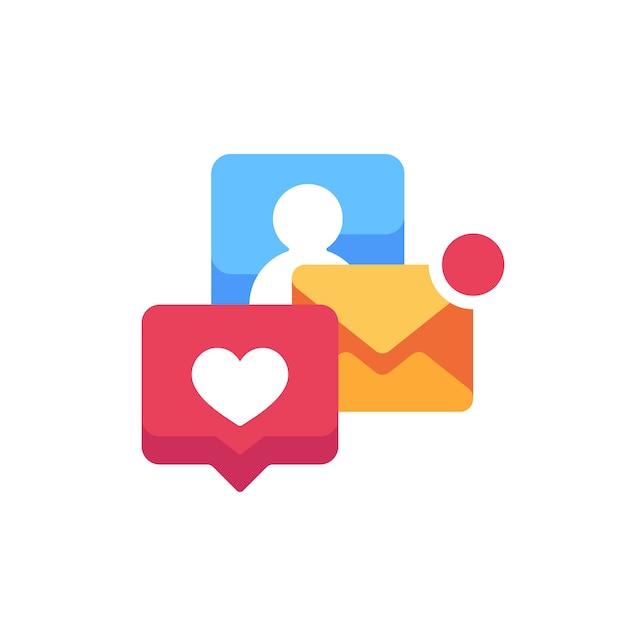 Płaska Ikona Wyskakujących Powiadomień. Alerty E-mail I Media Społecznościowe Premium Wektorów