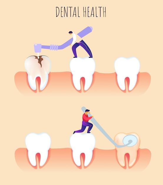 Płaska Ilustracja Dental Health Prevention Dentistry. Premium Wektorów
