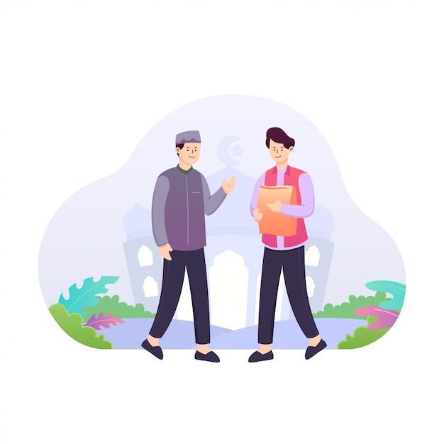 Płaska Ilustracja Dwóch Mężczyzn, Którzy Dają Jałmużnę Lub Zakat Koncepcji Premium Wektorów