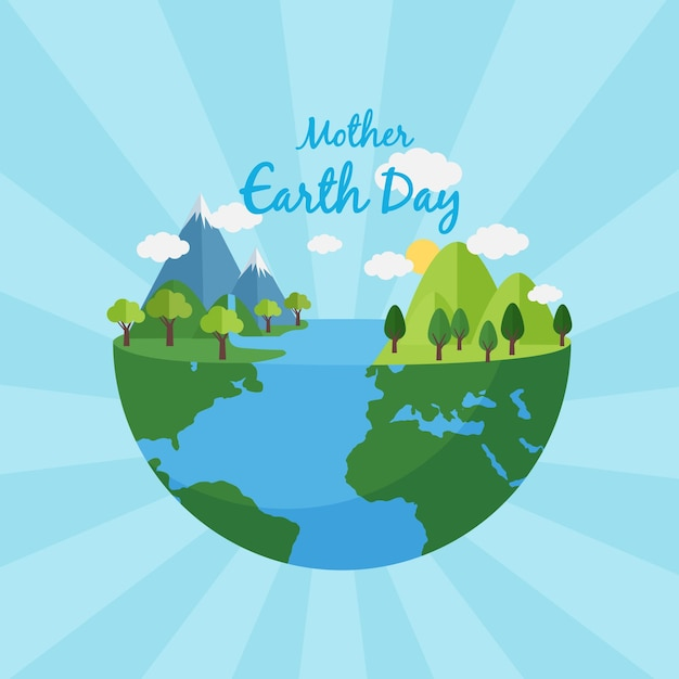 Płaska Ilustracja Dzień Matki Ziemi Darmowych Wektorów