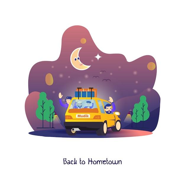 Płaska ilustracja, gdy ramadan nad, mudik lub z powrotem do rodzinnego miasta Premium Wektorów
