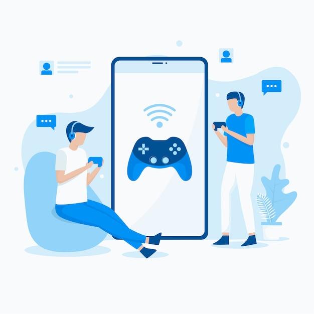 Płaska Ilustracja Grania W Mobilne Gry Wideo Premium Wektorów