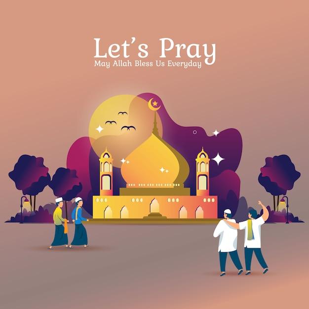 Płaska ilustracja na ramadan lub modlitwę islamską Premium Wektorów