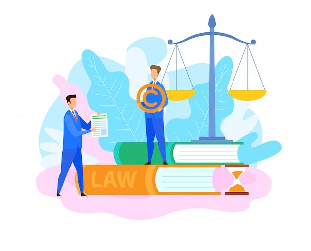 Płaska ilustracja prawnika ds. własności intelektualnej Premium Wektorów