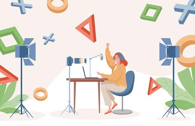 Płaska Ilustracja Przesyłania Strumieniowego Online. Kobieta, Grając W Gry Wideo Na Laptopie I Nagrania Wideo. Premium Wektorów
