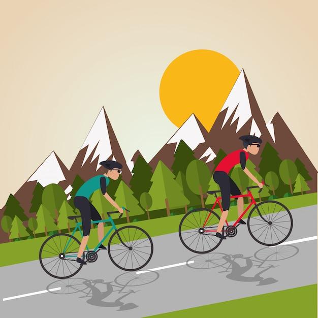 Płaska Ilustracja Roweru Lifesyle Premium Wektorów