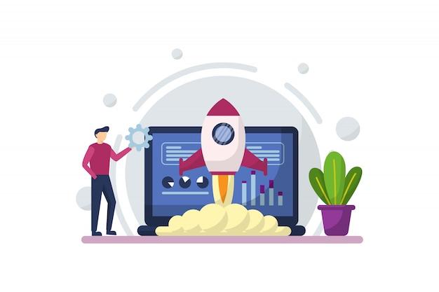 Płaska Ilustracja Start-up Z Koncepcją Uruchomienia Rakiety, Budowanie Kreatywności I Innowacji Premium Wektorów