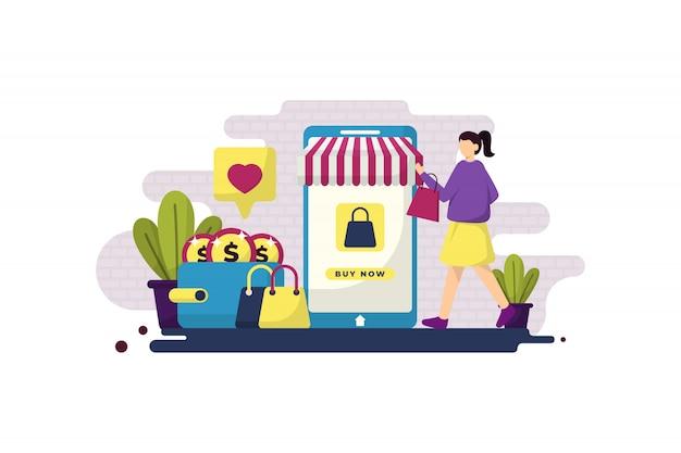Płaska Ilustracja Zakupy Online Z Dziewczyną Premium Wektorów
