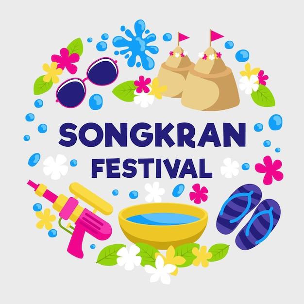 Płaska Impreza Festiwalu Songkran Darmowych Wektorów