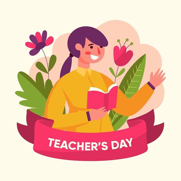 Płaska Impreza Z Okazji Dnia Nauczyciela Darmowych Wektorów