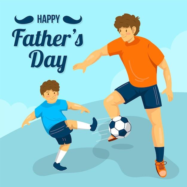 Płaska Impreza Z Okazji Dnia Ojca Darmowych Wektorów