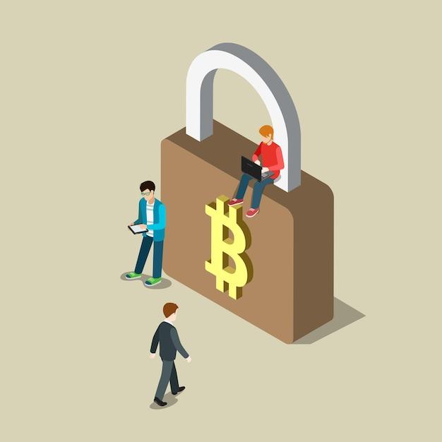 Płaska Izometryczna Bezpieczna Płatność Za Bezpieczne Transakcje W Bitcoinach Darmowych Wektorów