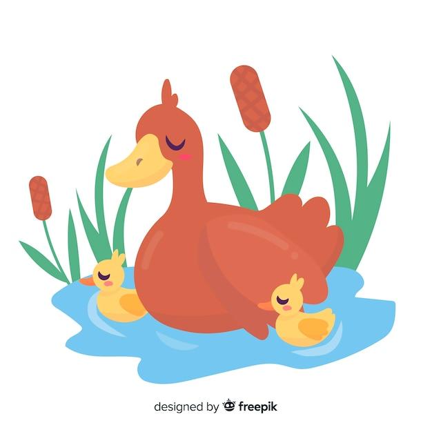 Płaska kaczka matka i kaczątka na wodzie Darmowych Wektorów