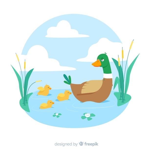 Płaska kaczka matka z kaczątkami w wodzie Darmowych Wektorów
