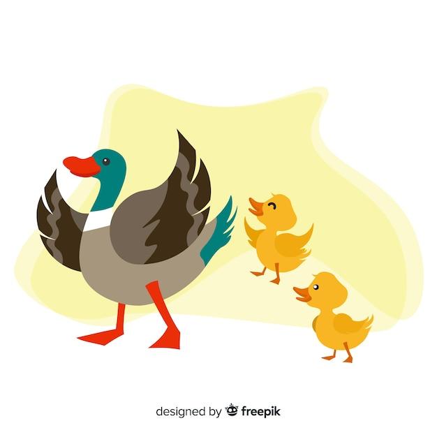 Płaska kaczka matki czuje się szczęśliwa z kaczątkami Darmowych Wektorów