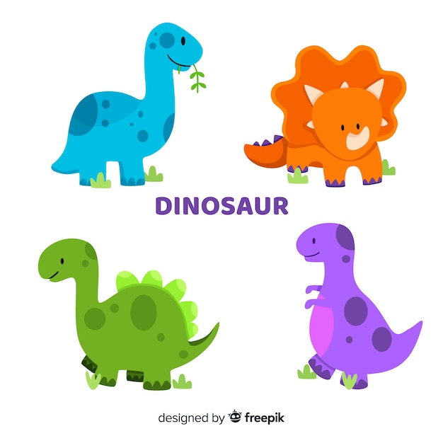 Płaska Kolekcja Dinozaurów Darmowych Wektorów