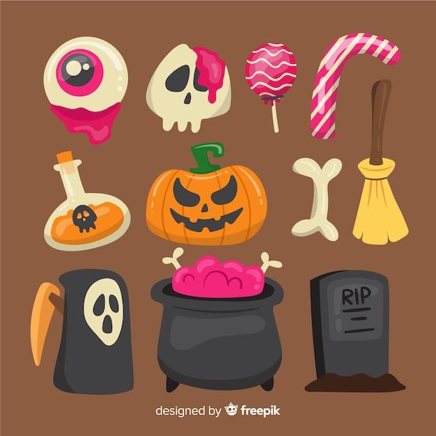 Płaska kolekcja elementów halloween Darmowych Wektorów