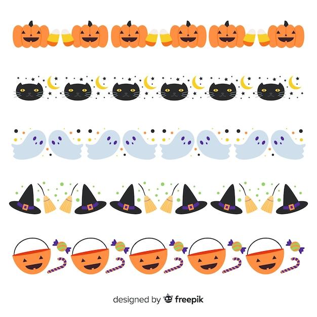 Płaska kolekcja granica halloween na białym tle Darmowych Wektorów