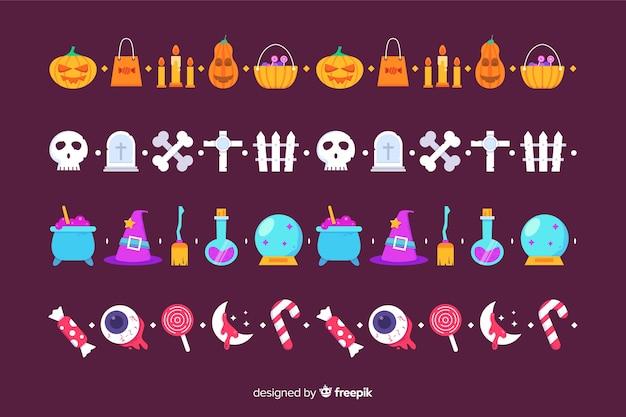 Płaska kolekcja granica halloween na fioletowym tle Darmowych Wektorów